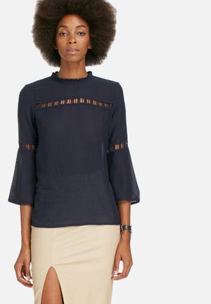 ONLY Biddy Ladder Top Blouses Navy