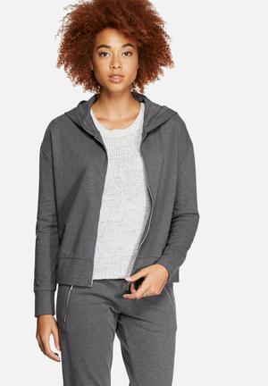 Jacqueline De Yong Zippy Hooded Sweat Hoodies & Jackets Dark Grey