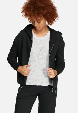 Jacqueline De Yong Zippy Hooded Sweat Hoodies & Jackets Black