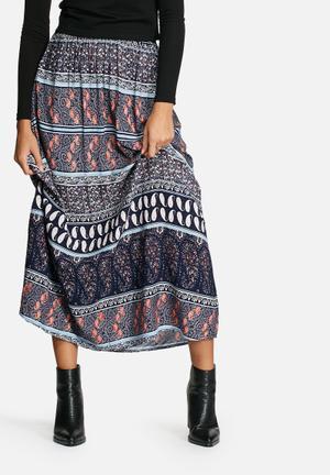 Jacqueline De Yong Rita Long Skirt Navy Print