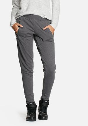 Jacqueline De Yong Zippy Sweat Pants Bottoms Dark Grey