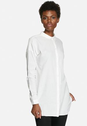 VILA Liza Long Soft Shirt White