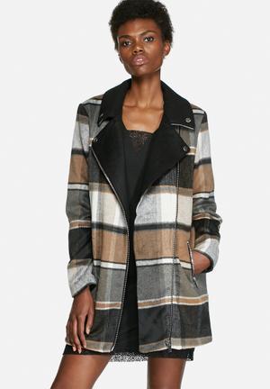 VILA Ntour Check Coat Black, Brown & Grey