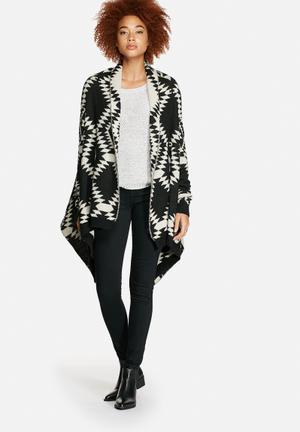 VILA Erika Knit Cardigan Knitwear Black & Cream