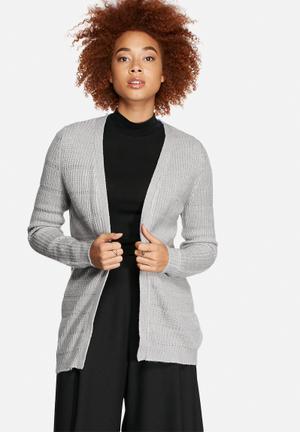 VILA Reverse Knit Cardigan Knitwear Light Grey