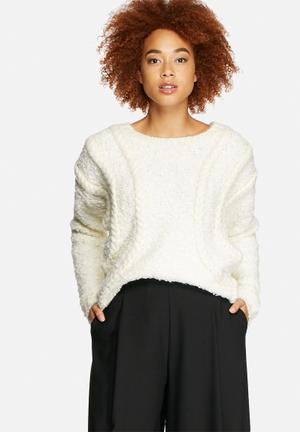 VILA Pop Cable Knit Knitwear Cream