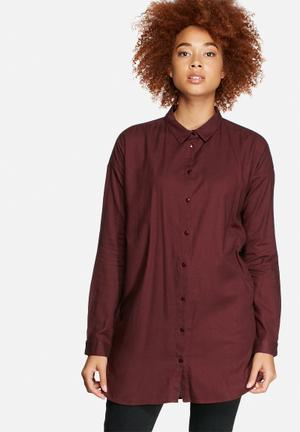 VILA Liza Long Soft Shirt Burgundy