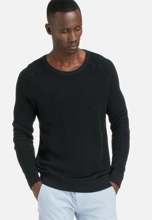 Selected Homme Louis Crew Knit Knitwear Black