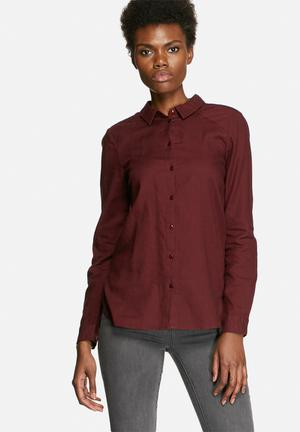 VILA Liza Soft Shirt Burgundy