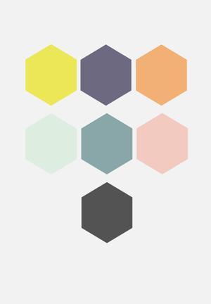 Sixth Floor Hexagon Wall Decal Set Of 21 Accessories