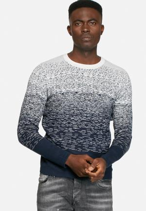 Jack & Jones CORE Ernesto Knit Crew Knitwear Navy / Treated White