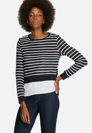 ONLY Rope Mix Top Blouses Navy