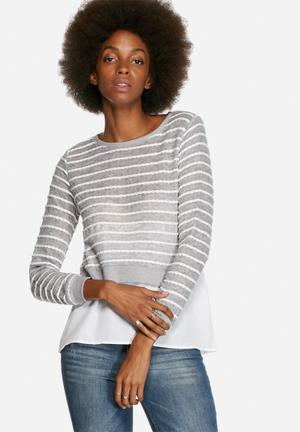 ONLY Rope Mix Top Blouses Grey