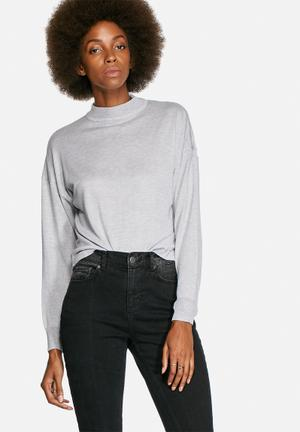 Noisy May Becca High Neck Knit Knitwear Light Grey