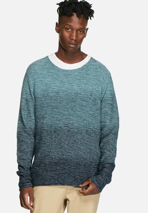 Jack & Jones Originals Basket Knit Crew Knitwear Mineral Blue