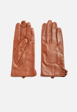 VILA Vianna Leather Gloves Fashion Accessories Brown