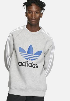 Adidas Originals Adi Trefoil Crew Hoodies & Sweatshirts Grey