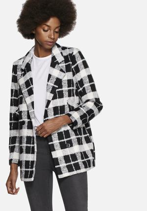 Noisy May Safran Check Coat Black & White