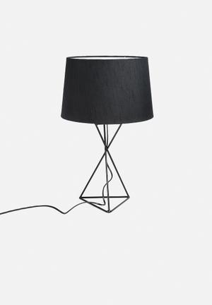 Sixth Floor Wire Hour-Glass Lamp With Shade Lighting Black