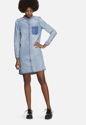 Noisy May Patric Denim Shirt Dress Casual Light Blue
