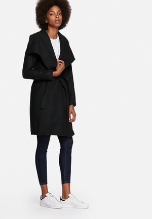 Jacqueline De Yong Dannie Long Belted Coat Black
