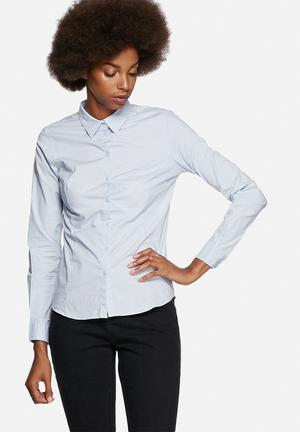 Jacqueline De Yong Lindsey Shaped Shirt Baby Blue