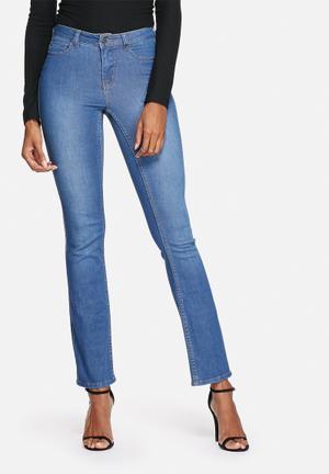 Pieces Just Soft Semi Flare Jeans Medium Blue