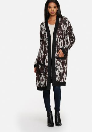 Vero Moda Sealskin Long Cardigan Knitwear Brown And Grey