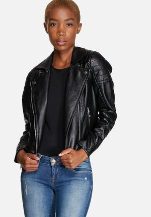Vero Moda Stine Short PU Jacket Black
