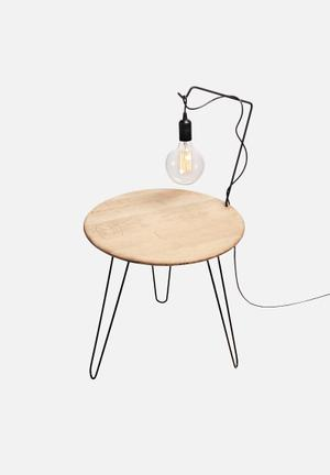 Emerging Creatives Ivey Table Light Solid Oak Top, Metal Legs