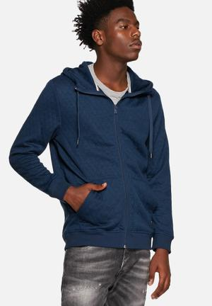 Only & Sons David Zip Hoodie Hoodies & Sweatshirts Dress Blues