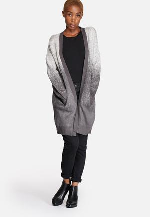 ONLY Yang Long Cardigan Knitwear Light Grey & White Ombre