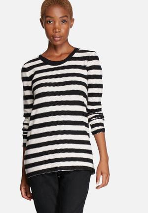 ONLY Silje Stripe Top Blouses Black & Off White