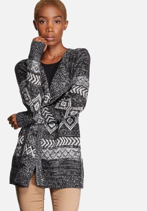ONLY Naomi Drapy Cardigan Knitwear Black & White