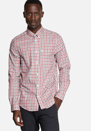 Ben Sherman Classic Check Shirt Cream / Red / Grey