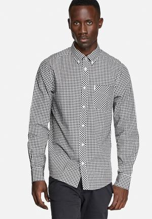 Ben Sherman Checkered L/S Shirt Jet Black / White