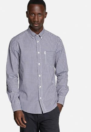 Ben Sherman Checkered L/S Shirt Navy / White