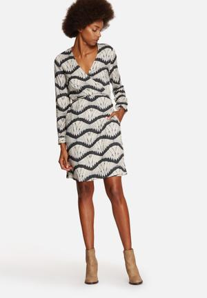 Vero Moda Zita Wrap Dress Formal Off White & Charcoal