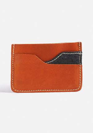 Jack & Jones Footwear & Accessories Denim Leather Card Holder Bags & Wallets Mocha Bisque