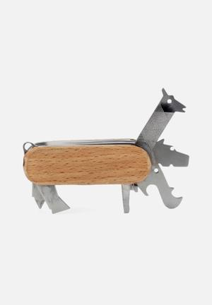 Kikkerland Animal Multi Tool Gifting & Stationery Stainless Steel, Beech Wood Casing