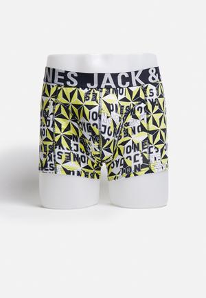 Jack & Jones Footwear & Accessories Block Trunks Underwear Yellow / Black / White