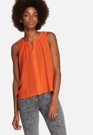 Vero Moda Velma V-Neck Top Blouses Orange Red