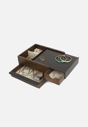 Umbra Stowit Jewellery Box Organisers & Storage Black Walnut