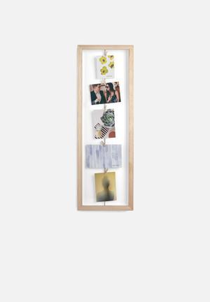 Umbra Clothesline Flip Photo Display Accessories Paulownia Wood