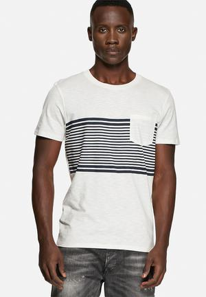 Selected Homme Liam Tee T-Shirts & Vests Cream / Navy