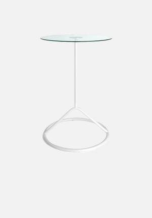 Umbra Loop Side Table Steel Base With Tempered Glass Top