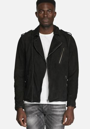 Jack & Jones Vintage Base Leather Jacket  Black