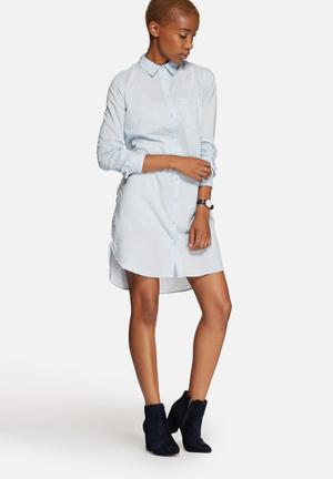 Jacqueline De Yong She Shirt Dress Formal Light Blue