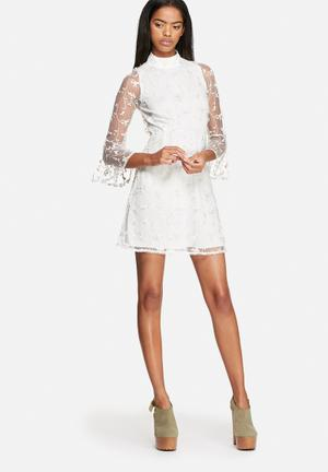 Motel Floral Lou Dress Occasion White