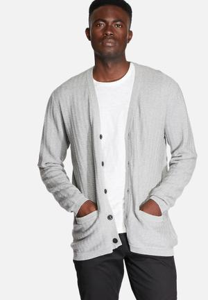 ADPT. More Knit Cardigan Knitwear Light Grey Melange